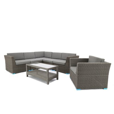7 Piece Sofa Set With Cushions Cushion Color: Gray