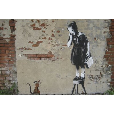 "Rat Girl"" by Banksy Graphic Art on Wrapped Canvas SC7053624-BY"