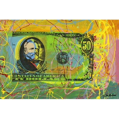 "''Half Grant #5'' by Steve Kaufman Wall Art on Wrapped Canvas Size: 32"" H x 48"" W x 1.5"" D SC17574832-SAK"