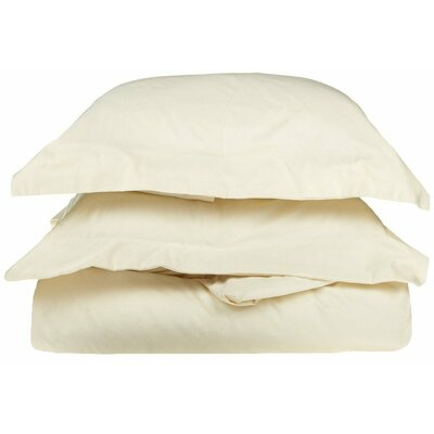 3 Piece Egyptian Duvet Cover Set Size: Twin, Color: Ivory