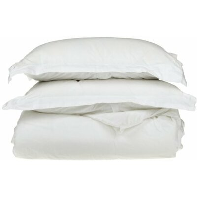 3 Piece Egyptian Duvet Cover Set Color: White, Size: California King/King