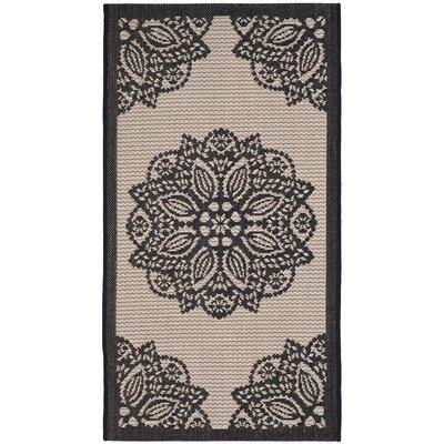 Catori Beige/Black Indoor/Outdoor Area Rug Rug Size: Rectangle 27 x 5