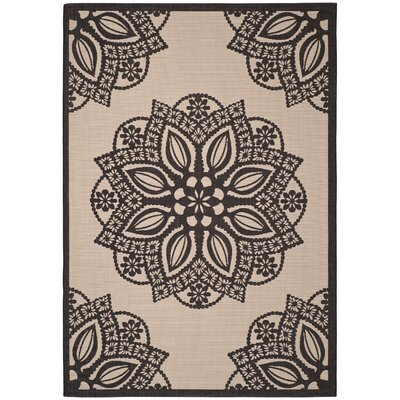 Catori Beige/Black Indoor/Outdoor Area Rug Rug Size: Rectangle 53 x 77