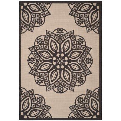 Catori Beige/Black Indoor/Outdoor Area Rug Rug Size: 67 x 96
