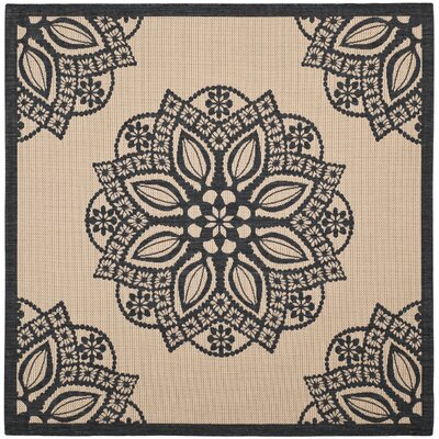 Catori Beige/Black Indoor/Outdoor Area Rug Rug Size: Square 67