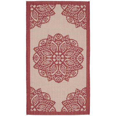Catori Beige/Red Indoor/Outdoor Area Rug Rug Size: Rectangle 27 x 5