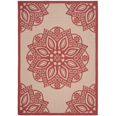 Catori Beige/Red Indoor/Outdoor Area Rug Rug Size: Rectangle 9 x 12