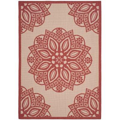 Catori Beige/Red Indoor/Outdoor Area Rug Rug Size: 53 x 77