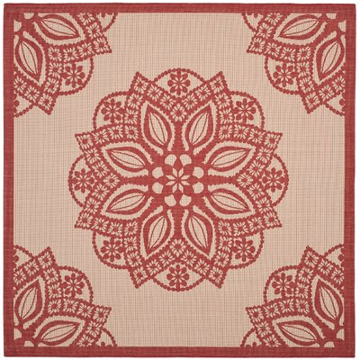 Catori Beige/Red Indoor/Outdoor Area Rug Rug Size: Square 67