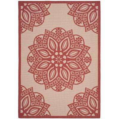 Catori Beige/Red Indoor/Outdoor Area Rug Rug Size: 9 x 12