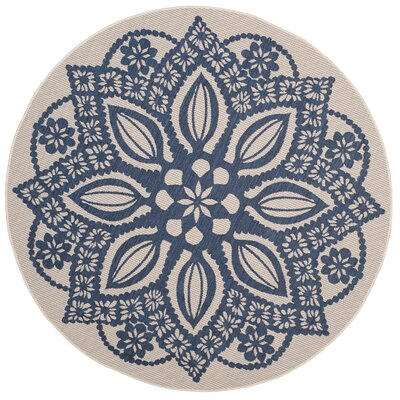 Catori Beige/Navy Indoor/Outdoor Area Rug Rug Size: Round 67