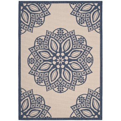 Catori Beige/Navy Indoor/Outdoor Area Rug Rug Size: 67 x 96