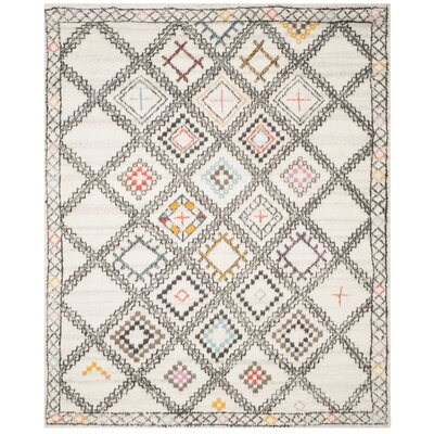 Glenoe Hand-Woven Ivory/Gray/Orange Area Rug Rug Size: 9 x 12