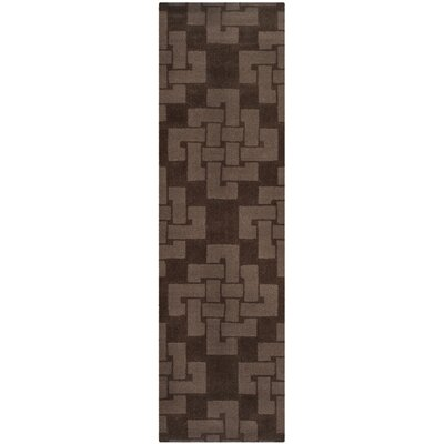 Knot Hand-Tufted Chocolate Truff Area Rug Rug Size: Runner 23 x 8