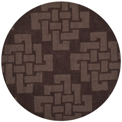 Knot Hand-Tufted Chocolate Truff Area Rug Rug Size: Round 4 x 4