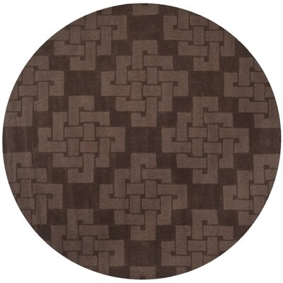 Knot Hand-Tufted Chocolate Truff Area Rug Rug Size: Round 8 x 8