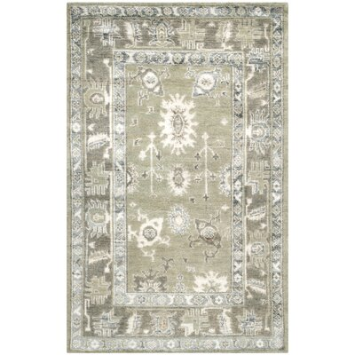 Nivedita Hand-Knotted Slate/Silver Area Rug Rug Size: 4 x 6