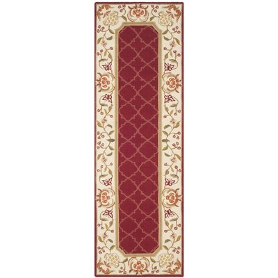 Arends Hand-Hooked Burgundy/Ivory Area Rug Rug Size: Runner 26 x 10