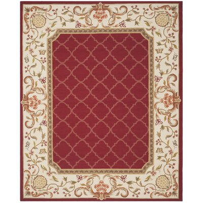 Arends Hand-Hooked Burgundy/Ivory Area Rug Rug Size: Rectangle 9 x 12