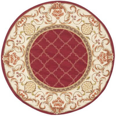 Arends Hand-Hooked Burgundy/Ivory Area Rug Rug Size: Round 6 x 6