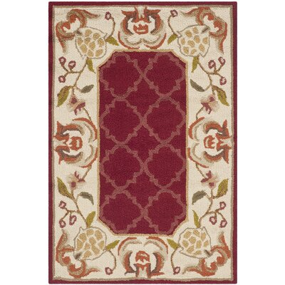 Arends Hand-Hooked Burgundy/Ivory Area Rug Rug Size: Rectangle 2 x 3