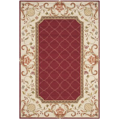 Arends Hand-Hooked Burgundy/Ivory Area Rug Rug Size: Rectangle 6 x 9