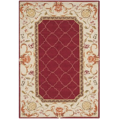 Arends Hand-Hooked Burgundy/Ivory Area Rug Rug Size: 4 x 6