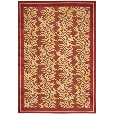 Plume Stripe Hand-Loomed Red Area Rug Rug Size: 53 x 76