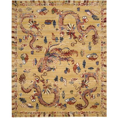 Chosposi Ochre Wool Gold Area Rug Rug Size: Rectangle 56 x 8