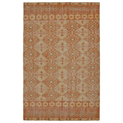Aanya Hand-Knotted Orange Area Rug Rug Size: 9 x 12
