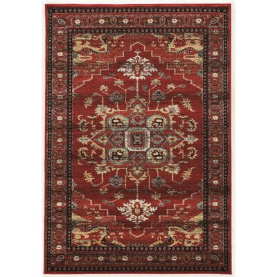 Shelie Mahal Red/Beige Area Rug Rug Size: Rectangle 2 x 3