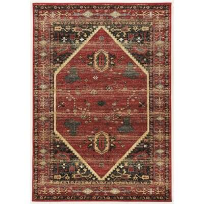 Shelie Hexagon Red/Black/Beige Area Rug Rug Size: 2 x 3