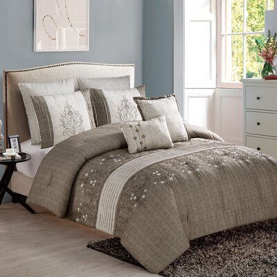 Ruppe 7 Piece Comforter Set Color: Brown/Taupe, Size: King