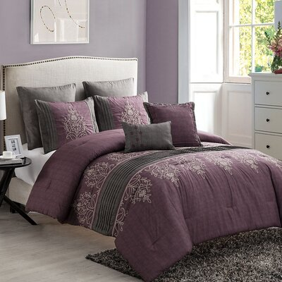 Ruppe 7 Piece Comforter Set Color: Burgundy/Gray, Size: King
