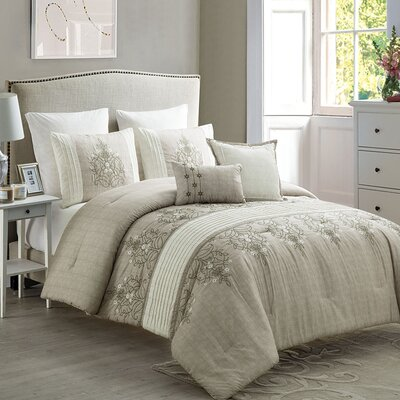 Ruppe 7 Piece Comforter Set Color: Taupe/Neutral, Size: Queen