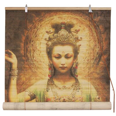 Kwan Yin with Lotus Bamboo Roll-Up Shade Size: 36 W x 72 L
