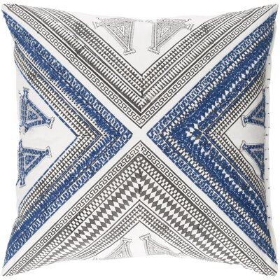 Amorita Throw Pillow Cover Size: 20 H x 20 W x 4 D, Color: Navy/Dark Brown/White