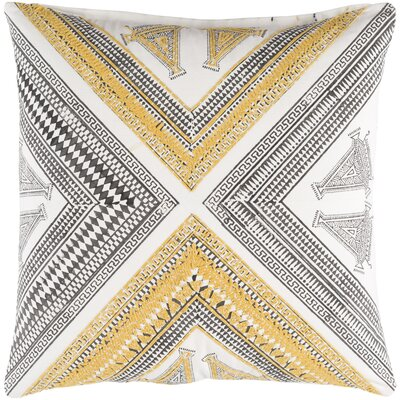 Amorita Throw Pillow Cover Size: 20 H x 20 W x 4 D, Color: Bright Yellow/Dark Brown/White