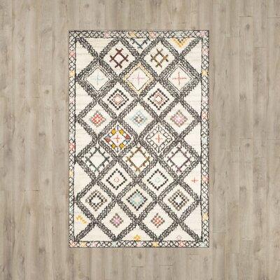 Glenoe Hand-Woven Ivory/Gray/Orange Area Rug Rug Size: 5 x 8