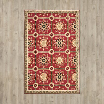 Noham Hand-Hooked Red/Natural Area Rug Rug Size: Rectangle 6 x 9