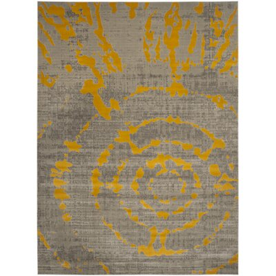 Chaima Light Gray/Yellow Area Rug Rug Size: Rectangle 82 x 11