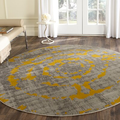 Chaima Light Gray/Yellow Area Rug Rug Size: Round 67
