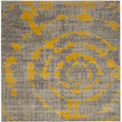 Chaima Light Gray/Yellow Area Rug Rug Size: Square 67