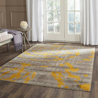 Chaima Light Gray/Yellow Area Rug Rug Size: Rectangle 52 x 76