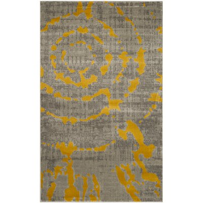 Chaima Light Gray/Yellow Area Rug Rug Size: Rectangle 41 x 6