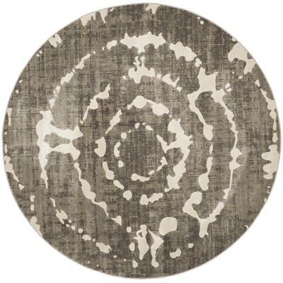 Chaima Gray/Ivory Area Rug Rug Size: Round 67