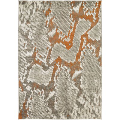 Fujii Light Gray/Orange Area Rug Rug Size: Rectangle 52 x 76