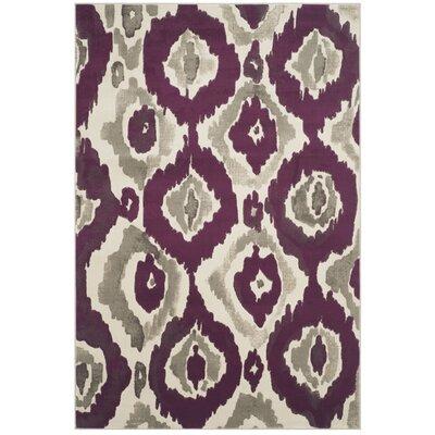 Deasia Ivory/Purple Area Rug Rug Size: 52 x 76