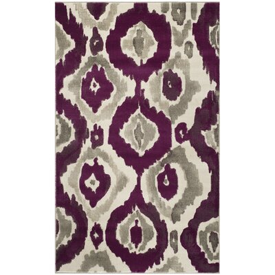 Deasia Ivory/Purple Area Rug Rug Size: 6 x 9