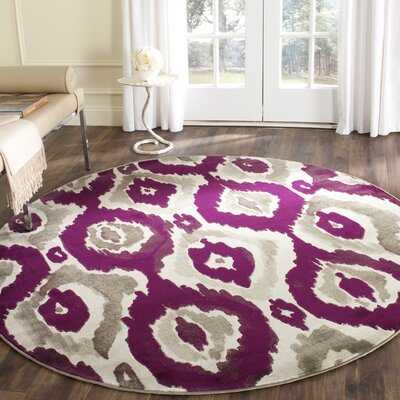 Deasia Ivory/Purple Area Rug Rug Size: Rectangle 52 x 76